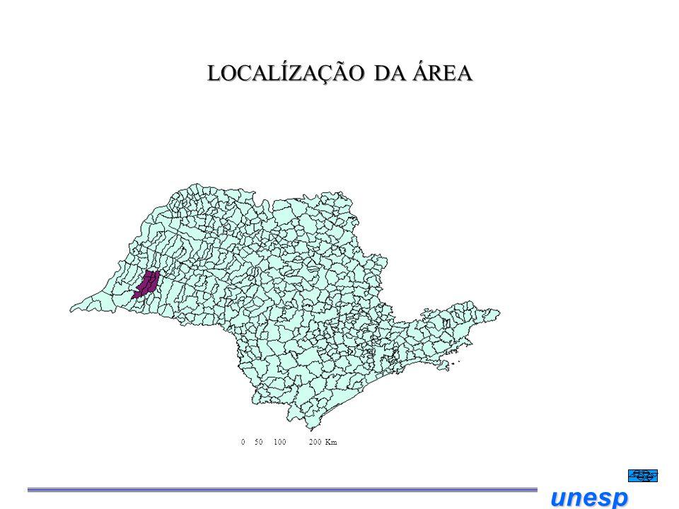 unesp LOCALÍZAÇÃO DA ÁREA 0 50 100 200 Km