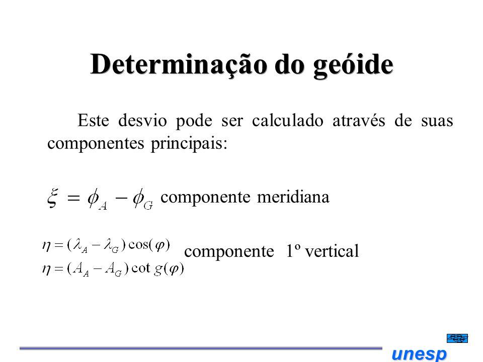 unesp Determinação do geóide Este desvio pode ser calculado através de suas componentes principais: componente meridiana componente 1º vertical