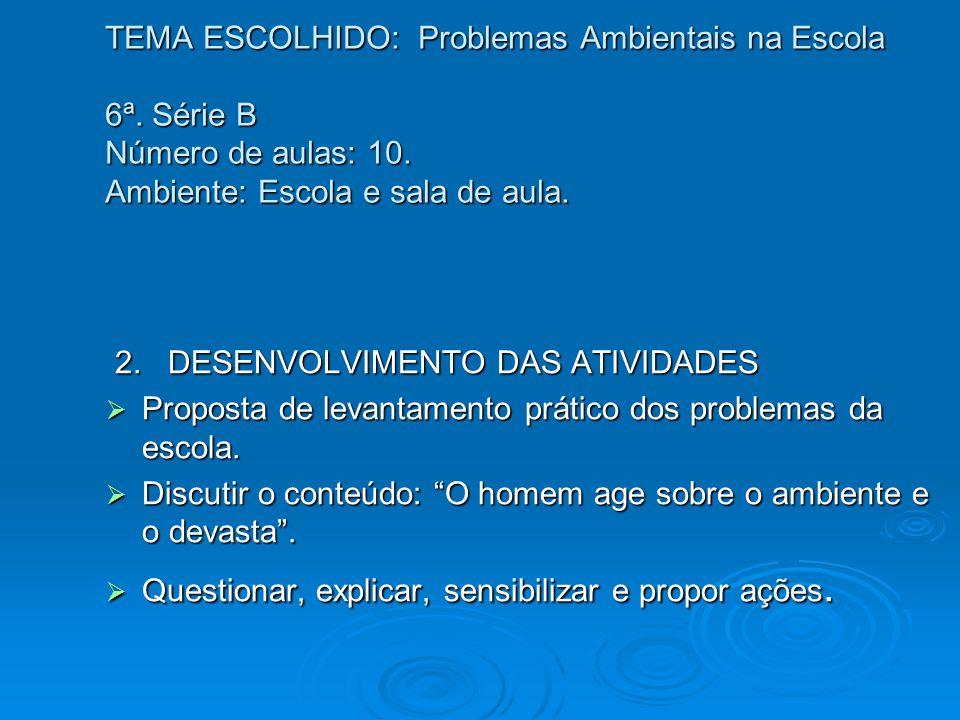 TEMA ESCOLHIDO: Problemas Ambientais na Escola 6ª. Série B Número de aulas: 10. Ambiente: Escola e sala de aula. 2. DESENVOLVIMENTO DAS ATIVIDADES 2.