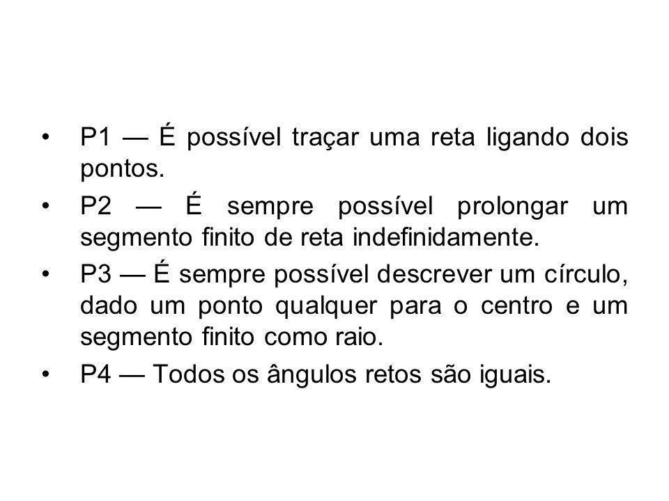 P1 É possível traçar uma reta ligando dois pontos. P2 É sempre possível prolongar um segmento finito de reta indefinidamente. P3 É sempre possível des