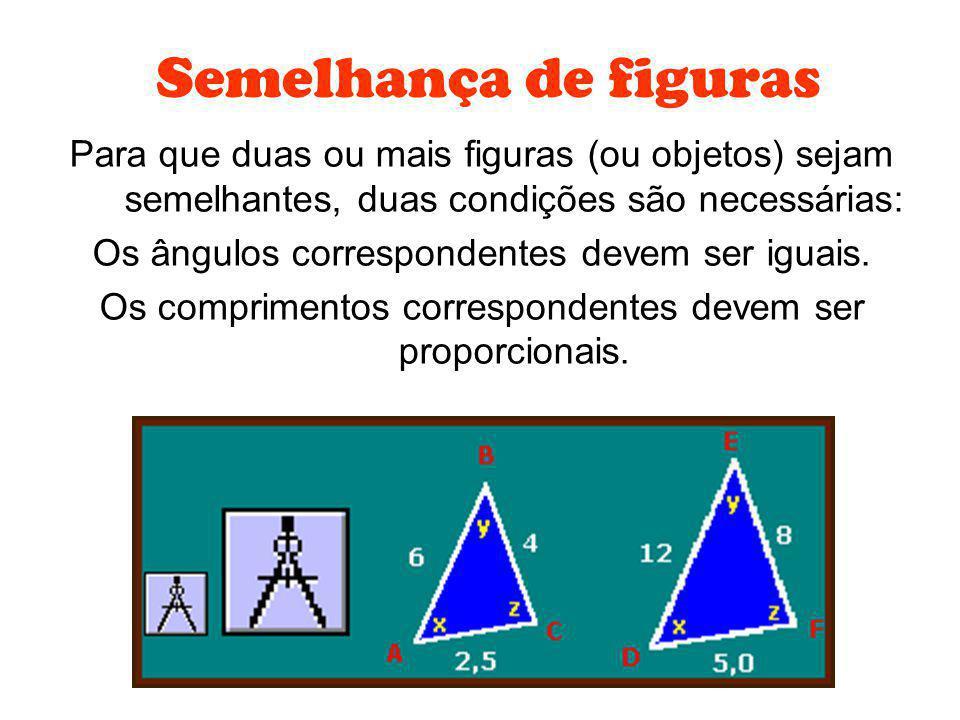 Para que duas ou mais figuras (ou objetos) sejam semelhantes, duas condições são necessárias: Os ângulos correspondentes devem ser iguais. Os comprime