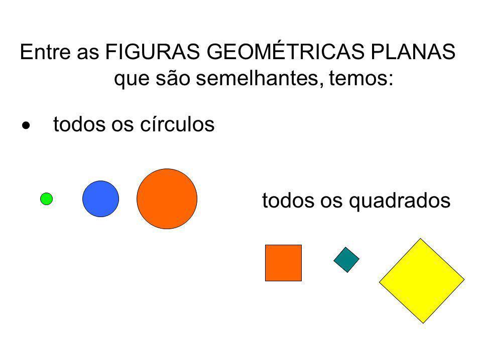 Entre as FIGURAS GEOMÉTRICAS PLANAS que são semelhantes, temos: todos os círculos todos os quadrados