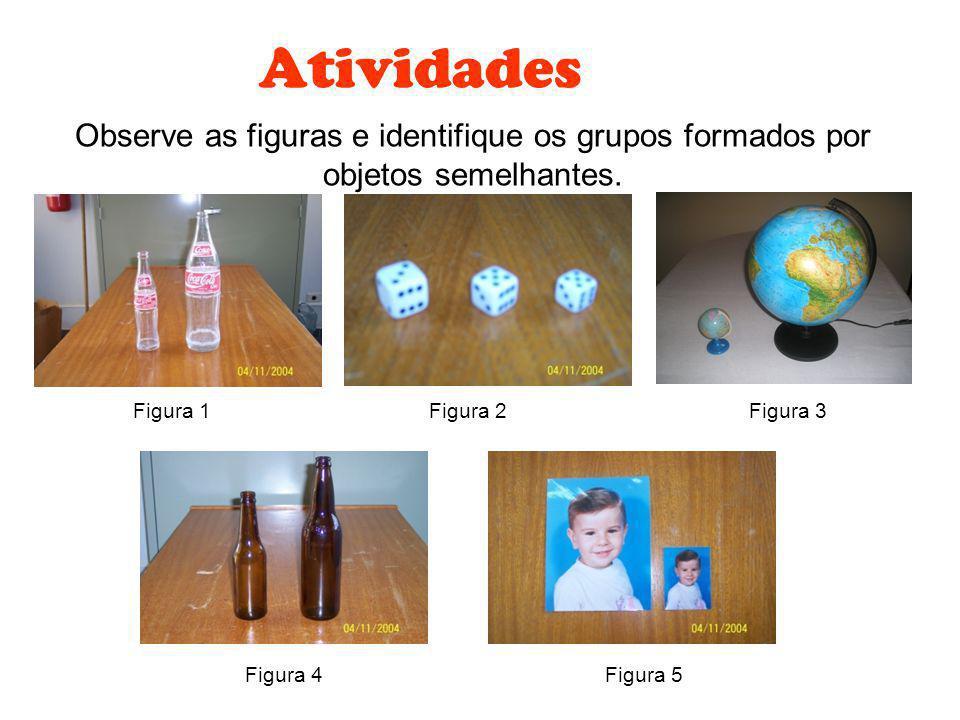 Atividades Observe as figuras e identifique os grupos formados por objetos semelhantes. Figura 1 Figura 3 Figura 2 Figura 4Figura 5