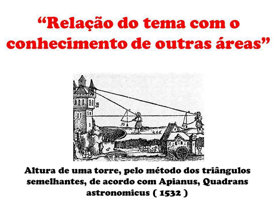Relação do tema com o conhecimento de outras áreas Altura de uma torre, pelo método dos triângulos semelhantes, de acordo com Apianus, Quadrans astron