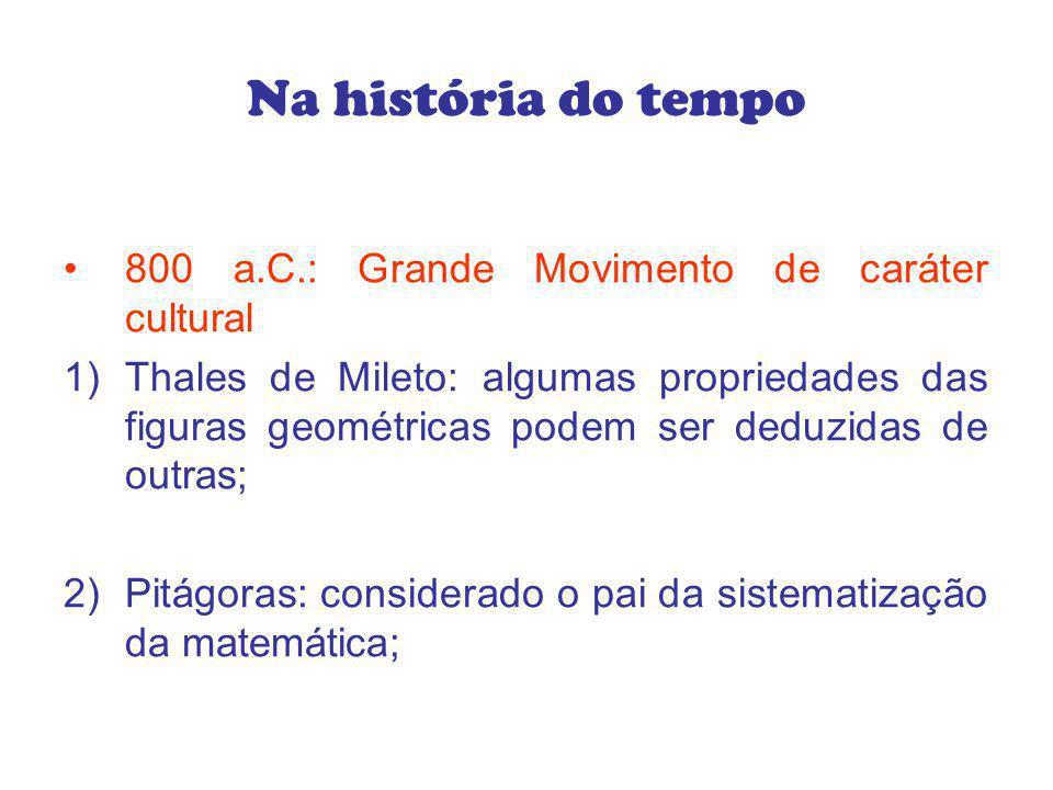 Na história do tempo 800 a.C.: Grande Movimento de caráter cultural 1)Thales de Mileto: algumas propriedades das figuras geométricas podem ser deduzid