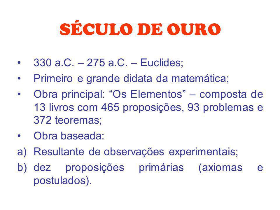 SÉCULO DE OURO 330 a.C. – 275 a.C. – Euclides; Primeiro e grande didata da matemática; Obra principal: Os Elementos – composta de 13 livros com 465 pr