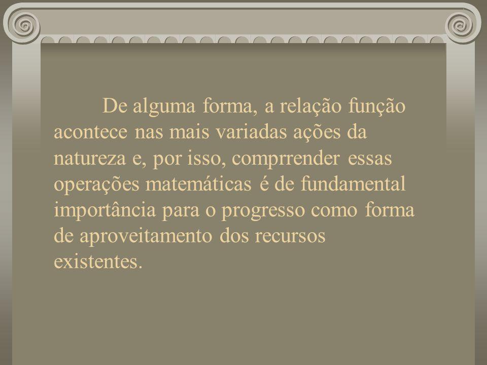 De alguma forma, a relação função acontece nas mais variadas ações da natureza e, por isso, comprrender essas operações matemáticas é de fundamental i