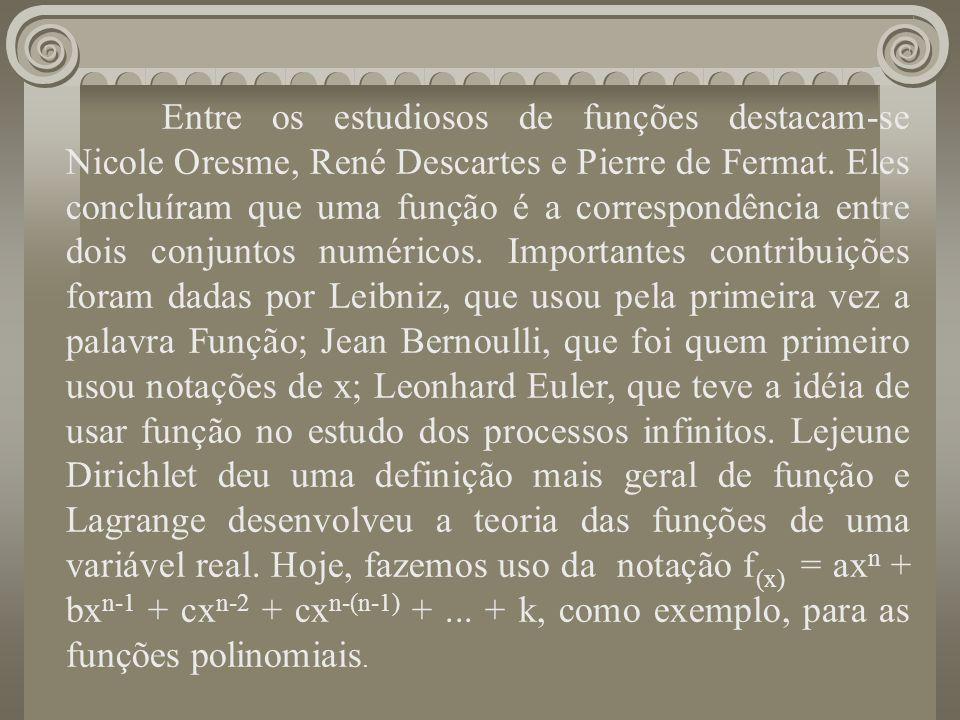 Entre os estudiosos de funções destacam-se Nicole Oresme, René Descartes e Pierre de Fermat. Eles concluíram que uma função é a correspondência entre