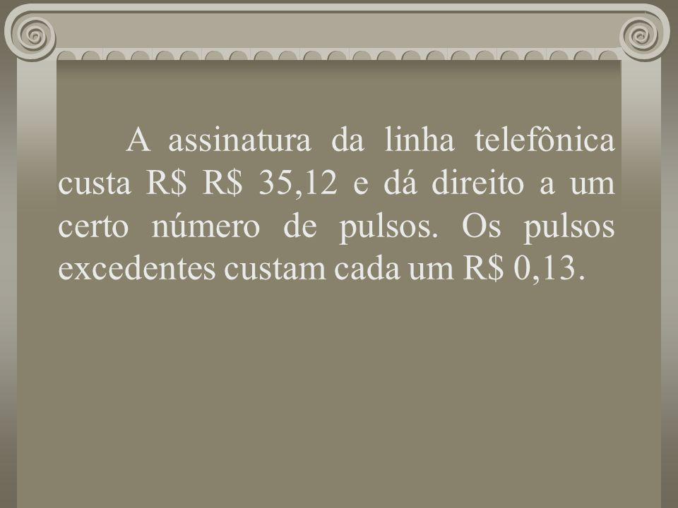 A assinatura da linha telefônica custa R$ R$ 35,12 e dá direito a um certo número de pulsos. Os pulsos excedentes custam cada um R$ 0,13. Uma função f