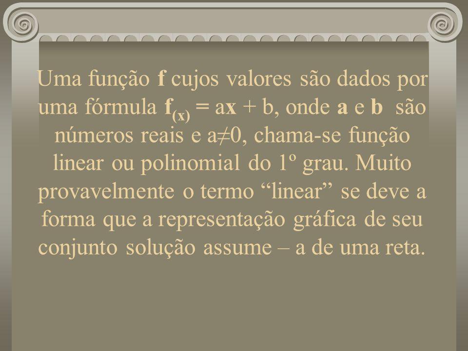 Uma função f cujos valores são dados por uma fórmula f (x) = ax + b, onde a e b são números reais e a0, chama-se função linear ou polinomial do 1º gra