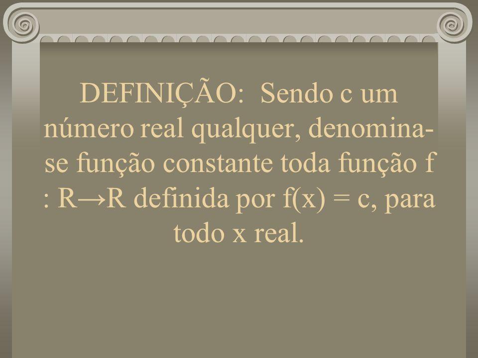 DEFINIÇÃO: Sendo c um número real qualquer, denomina- se função constante toda função f : RR definida por f(x) = c, para todo x real.