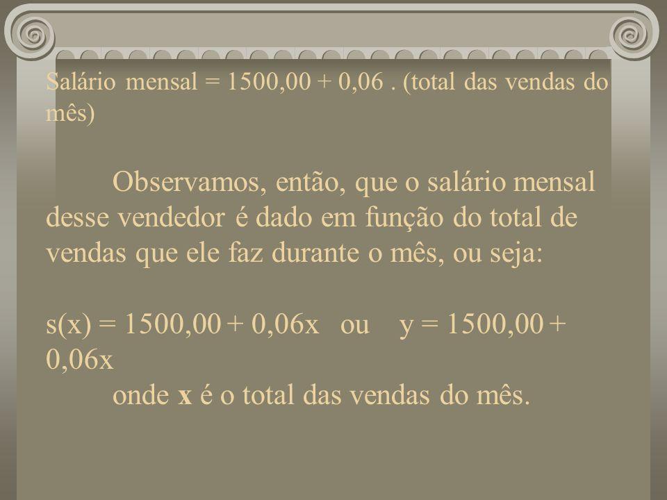 Salário mensal = 1500,00 + 0,06. (total das vendas do mês) Observamos, então, que o salário mensal desse vendedor é dado em função do total de vendas