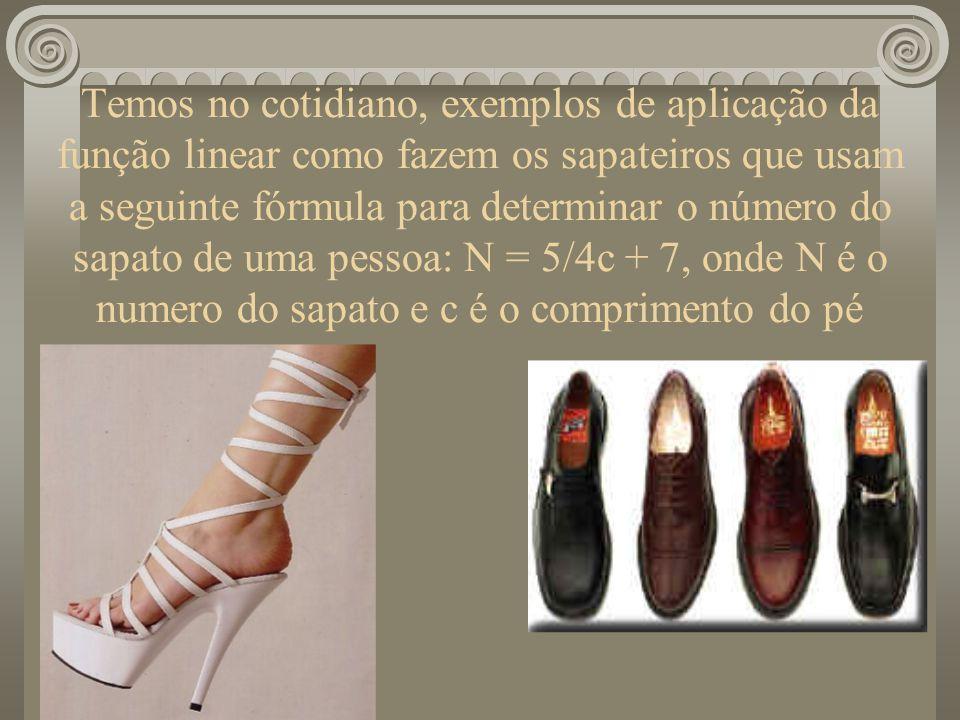 Temos no cotidiano, exemplos de aplicação da função linear como fazem os sapateiros que usam a seguinte fórmula para determinar o número do sapato de