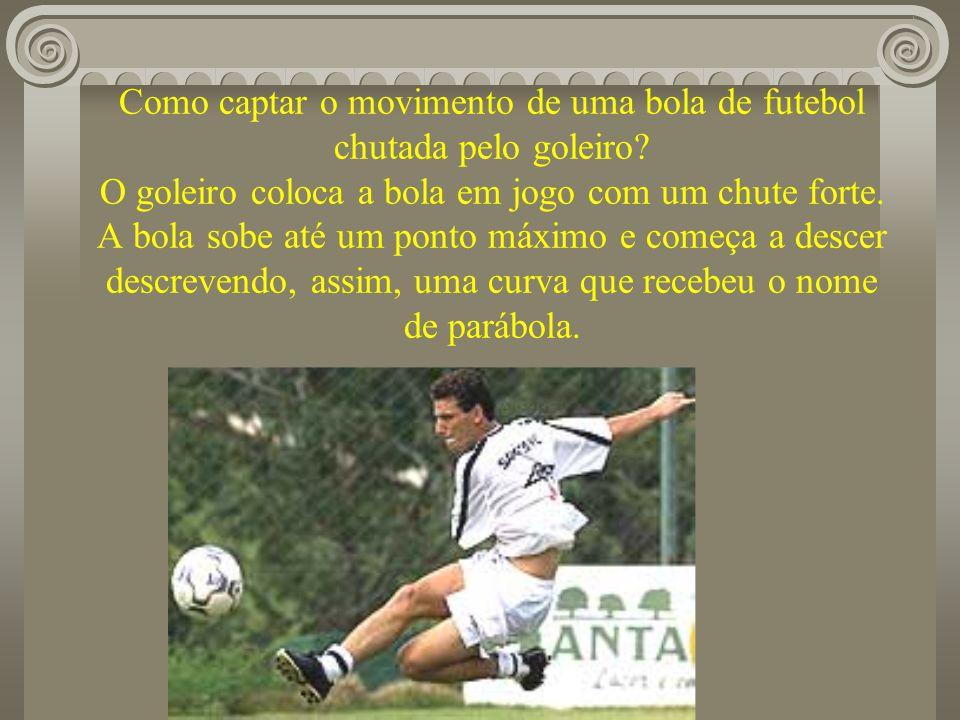Como captar o movimento de uma bola de futebol chutada pelo goleiro? O goleiro coloca a bola em jogo com um chute forte. A bola sobe até um ponto máxi