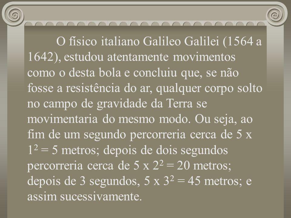 O físico italiano Galileo Galilei (1564 a 1642), estudou atentamente movimentos como o desta bola e concluiu que, se não fosse a resistência do ar, qu