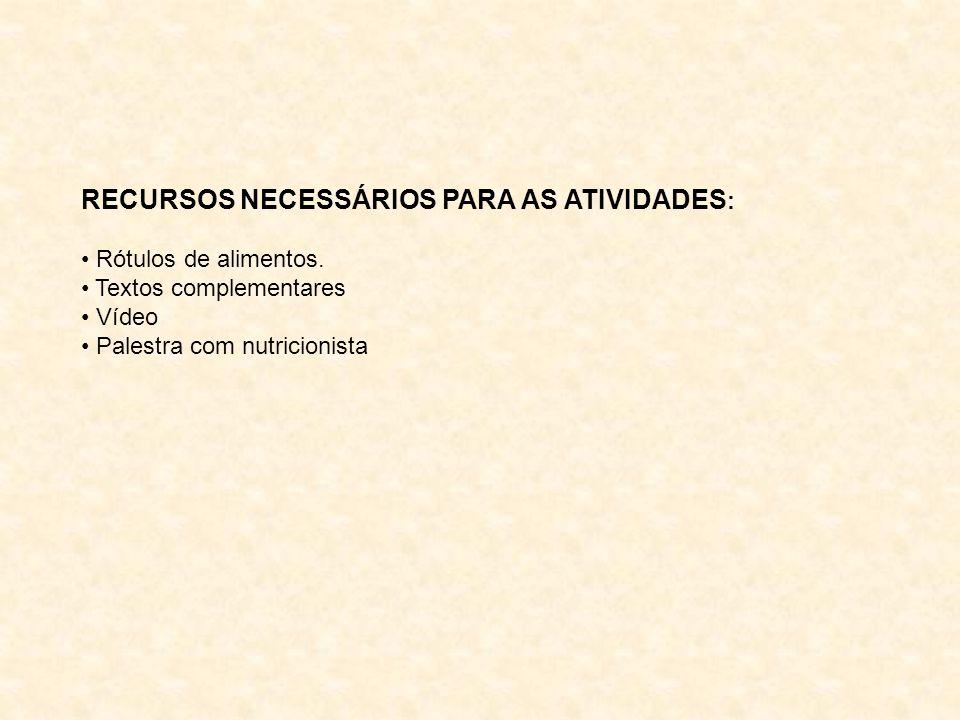 RECURSOS NECESSÁRIOS PARA AS ATIVIDADES : Rótulos de alimentos.