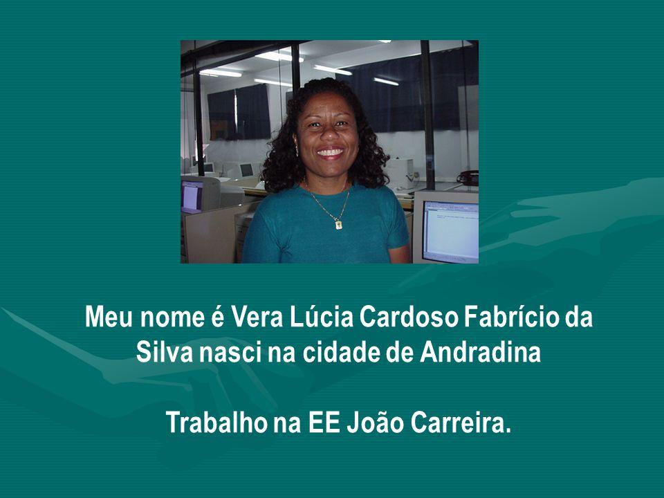 Meu nome é Vera Lúcia Cardoso Fabrício da Silva nasci na cidade de Andradina Trabalho na EE João Carreira.