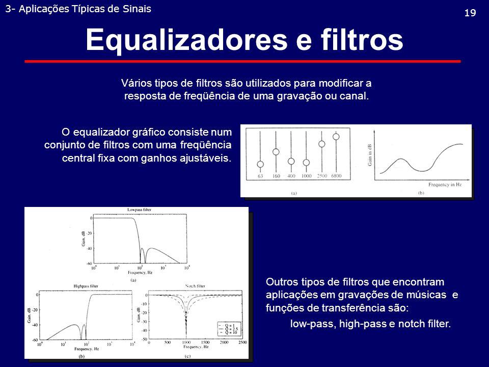 Equalizadores e filtros 19 3- Aplicações Típicas de Sinais Vários tipos de filtros são utilizados para modificar a resposta de freqüência de uma gravação ou canal.