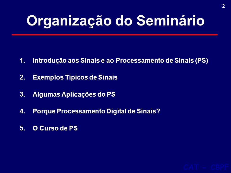 Organização do Seminário 1.Introdução aos Sinais e ao Processamento de Sinais (PS) 2.Exemplos Típicos de Sinais 3.Algumas Aplicações do PS 4.Porque Processamento Digital de Sinais.
