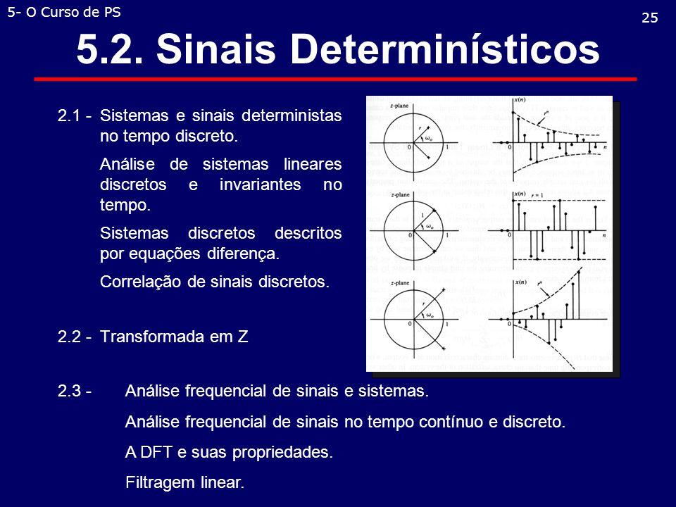 5.2.Sinais Determinísticos 2.1 - Sistemas e sinais deterministas no tempo discreto.