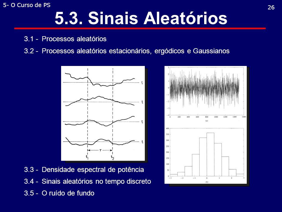 3.1 -Processos aleatórios 3.2 -Processos aleatórios estacionários, ergódicos e Gaussianos 3.3 -Densidade espectral de potência 3.4 -Sinais aleatórios no tempo discreto 3.5 -O ruído de fundo 5.3.
