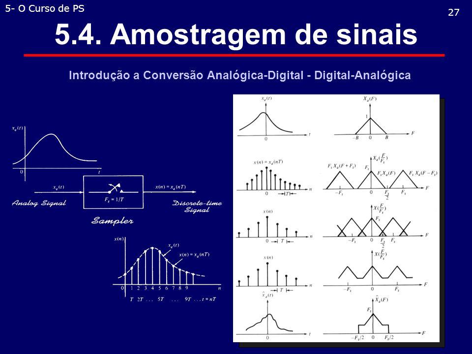 5.4. Amostragem de sinais Introdução a Conversão Analógica-Digital - Digital-Analógica 27 5- O Curso de PS