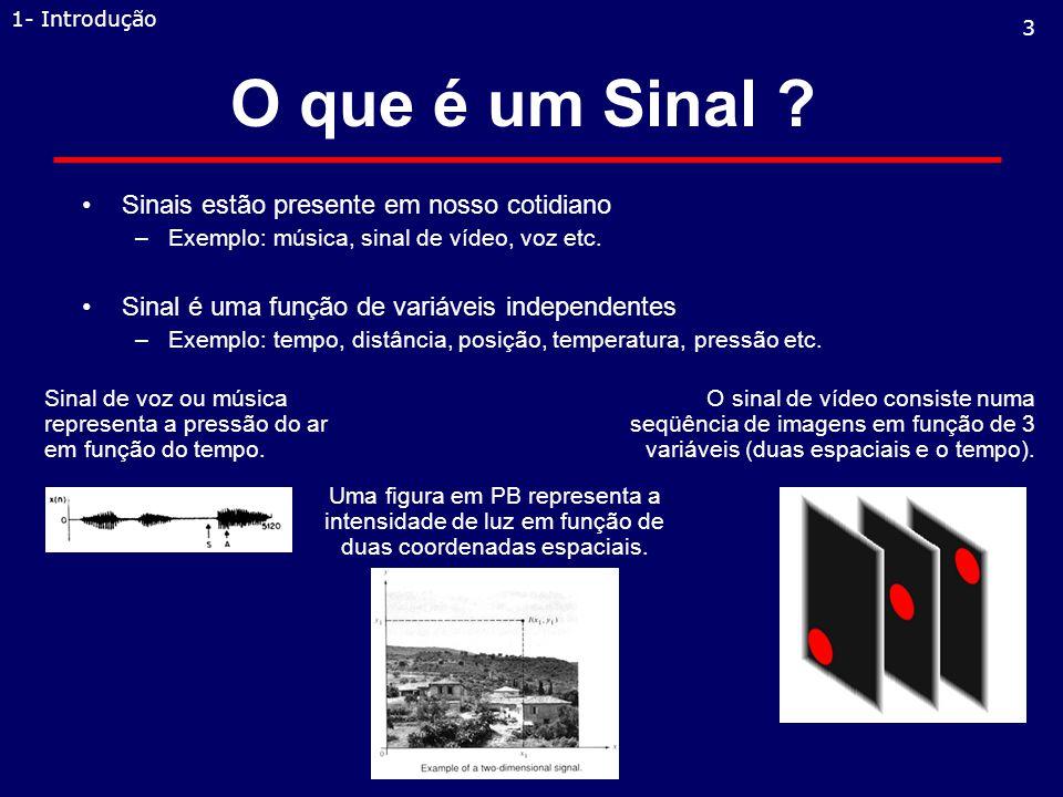 1.1 - Sinais, sistemas e processamento de sinais.1.2 - Classificação dos sinais.