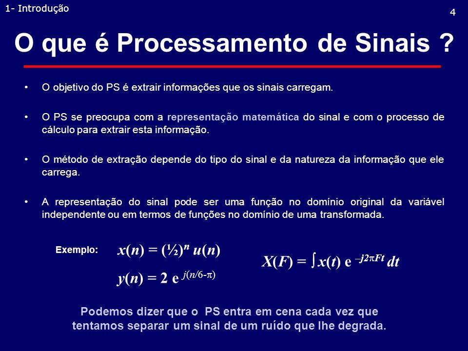 O que é Processamento de Sinais .O objetivo do PS é extrair informações que os sinais carregam.
