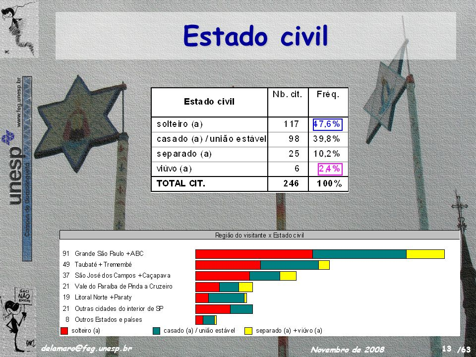 /63 delamaro@feg.unesp.br Novembro de 2008 13 Estado civil