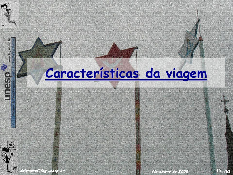 /63 delamaro@feg.unesp.br Novembro de 2008 19 Características da viagem