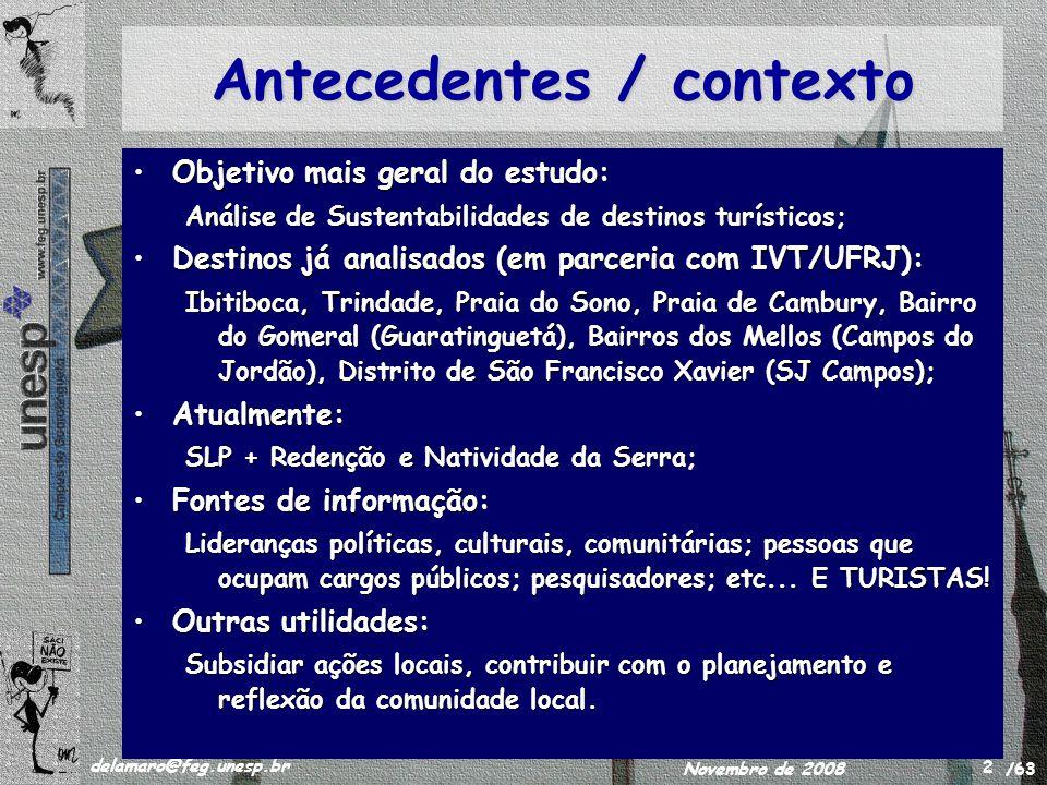 /63 delamaro@feg.unesp.br Novembro de 2008 2 Antecedentes / contexto Objetivo mais geral do estudo:Objetivo mais geral do estudo: Análise de Sustentabilidades de destinos turísticos; Destinos já analisados (em parceria com IVT/UFRJ):Destinos já analisados (em parceria com IVT/UFRJ): Ibitiboca, Trindade, Praia do Sono, Praia de Cambury, Bairro do Gomeral (Guaratinguetá), Bairros dos Mellos (Campos do Jordão), Distrito de São Francisco Xavier (SJ Campos); Atualmente:Atualmente: SLP + Redenção e Natividade da Serra; Fontes de informação:Fontes de informação: Lideranças políticas, culturais, comunitárias; pessoas que ocupam cargos públicos; pesquisadores; etc...