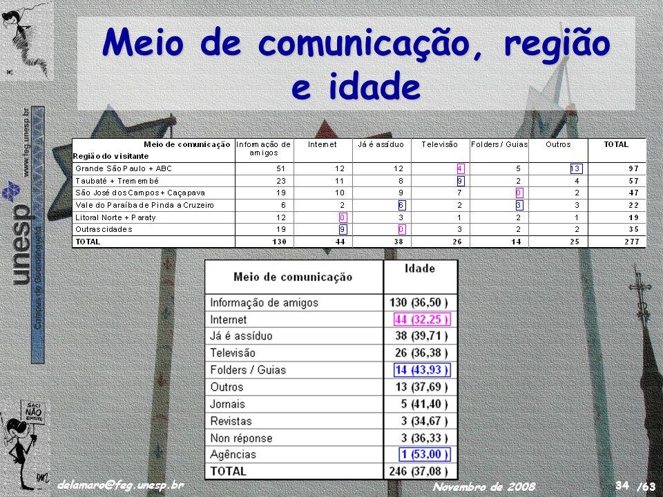 /63 delamaro@feg.unesp.br Novembro de 2008 34 Meio de comunicação, região e idade