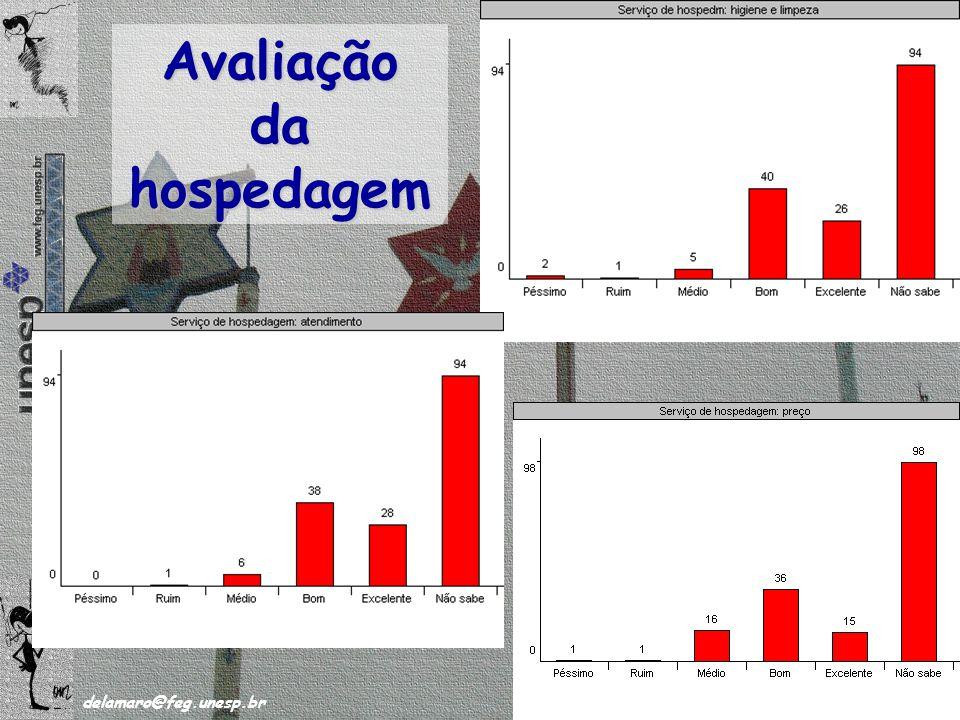/63 delamaro@feg.unesp.br Novembro de 2008 44 Avaliação da hospedagem