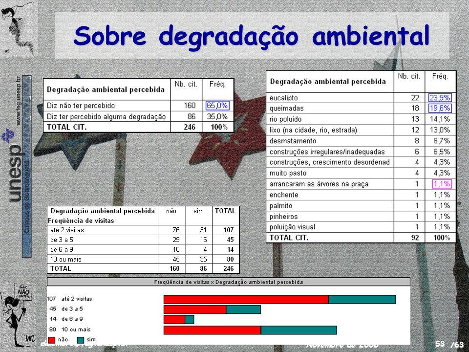 /63 delamaro@feg.unesp.br Novembro de 2008 53 Sobre degradação ambiental