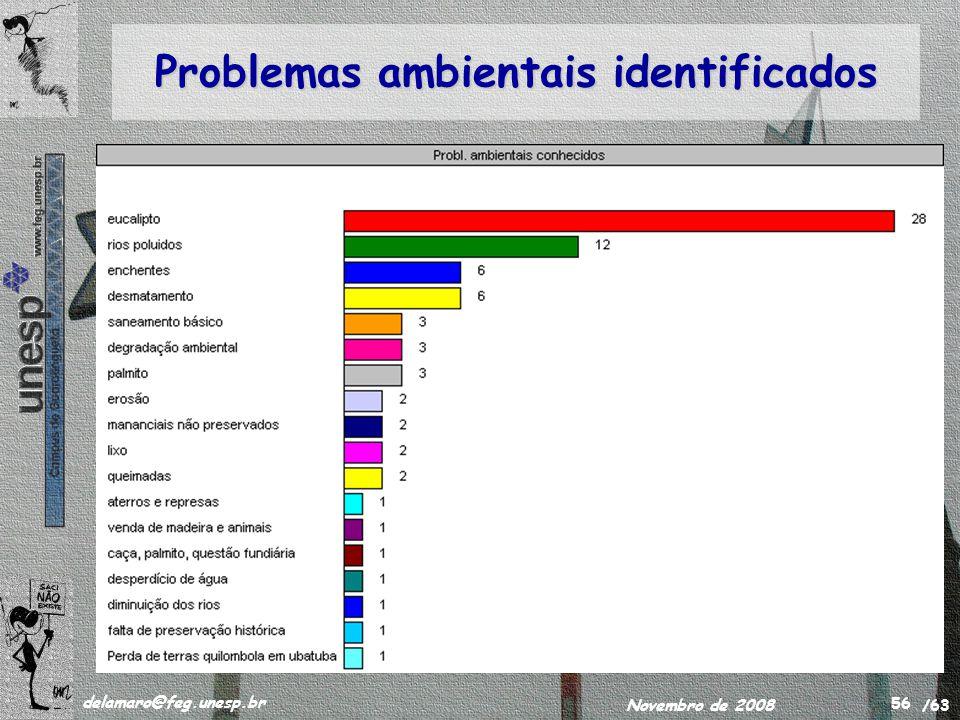 /63 delamaro@feg.unesp.br Novembro de 2008 56 Problemas ambientais identificados