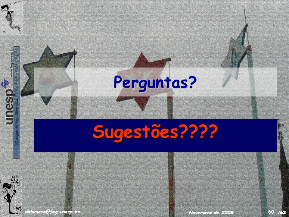 /63 delamaro@feg.unesp.br Novembro de 2008 60 Perguntas? Sugestões????
