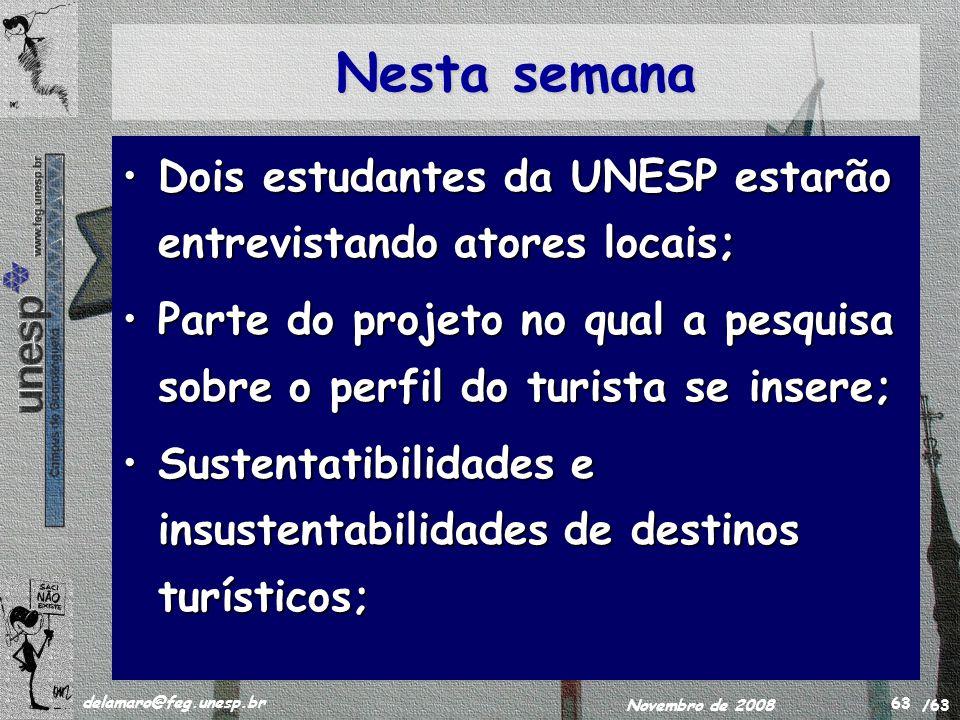 /63 delamaro@feg.unesp.br Novembro de 2008 63 Nesta semana Dois estudantes da UNESP estarão entrevistando atores locais;Dois estudantes da UNESP estar