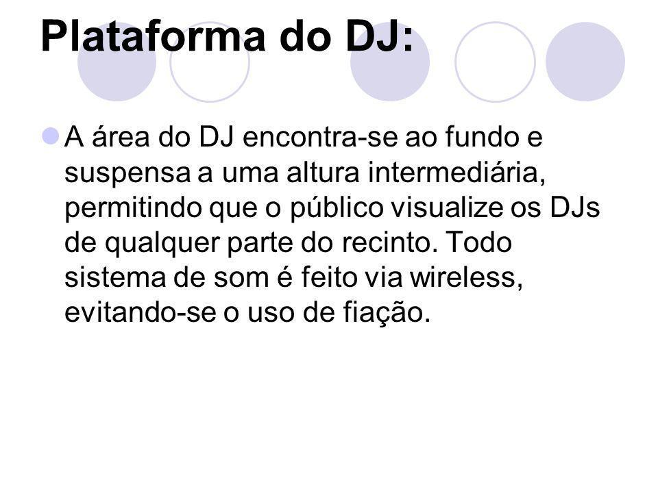 Plataforma do DJ: A área do DJ encontra-se ao fundo e suspensa a uma altura intermediária, permitindo que o público visualize os DJs de qualquer parte