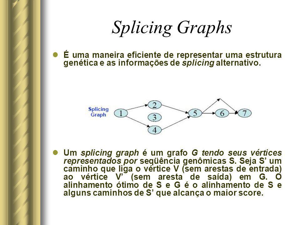 Splicing Graphs É uma maneira eficiente de representar uma estrutura genética e as informações de splicing alternativo. Um splicing graph é um grafo G