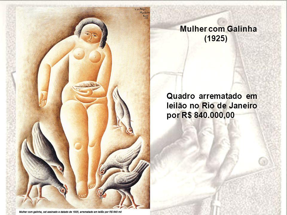 Quadro arrematado em leilão no Rio de Janeiro por R$ 840.000,00 Mulher com Galinha (1925)