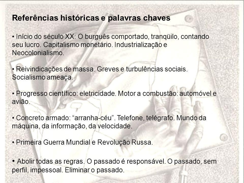 Referências históricas e palavras chaves Início do século XX: O burguês comportado, tranqüilo, contando seu lucro. Capitalismo monetário. Industrializ