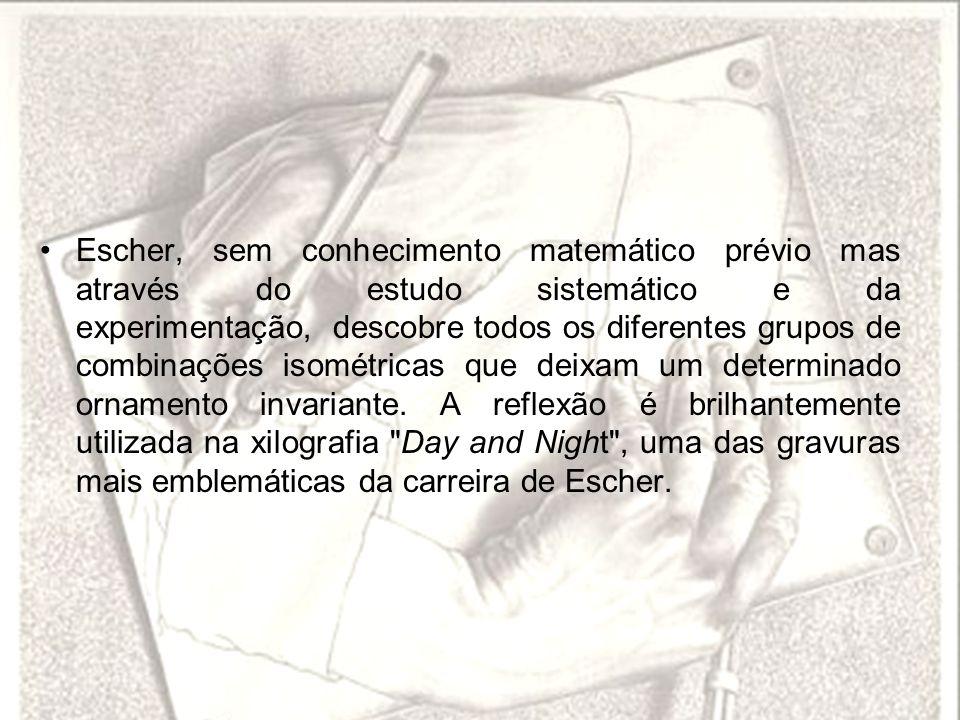 Escher, sem conhecimento matemático prévio mas através do estudo sistemático e da experimentação, descobre todos os diferentes grupos de combinações i