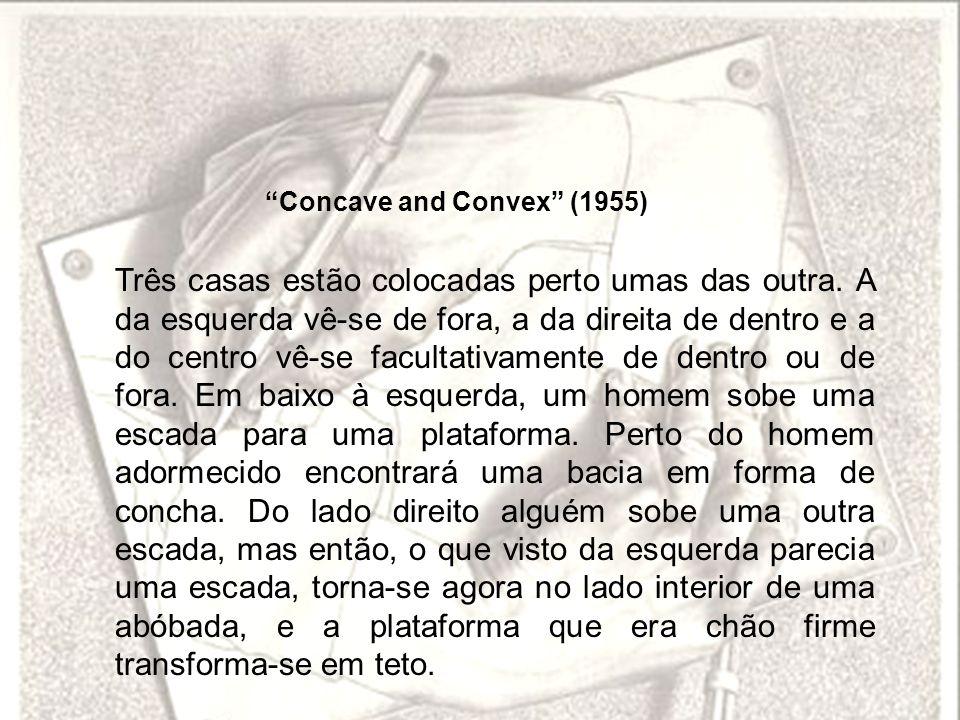 Concave and Convex (1955) Três casas estão colocadas perto umas das outra. A da esquerda vê-se de fora, a da direita de dentro e a do centro vê-se fac