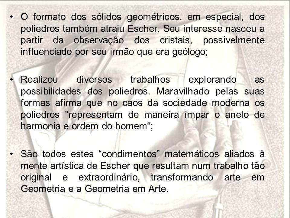 O formato dos sólidos geométricos, em especial, dos poliedros também atraiu Escher. Seu interesse nasceu a partir da observação dos cristais, possivel