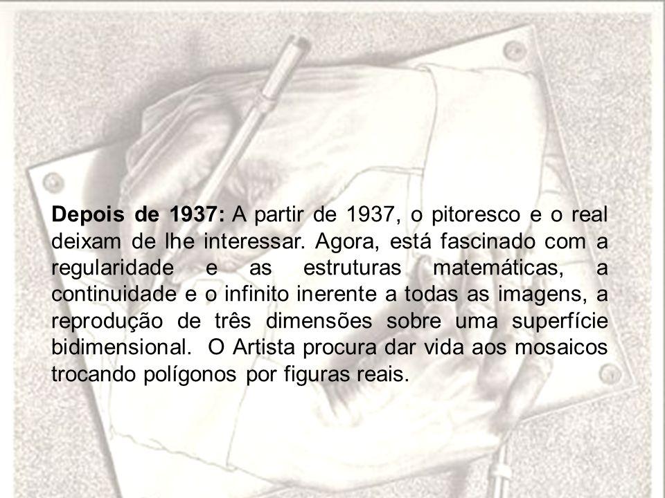 Depois de 1937: A partir de 1937, o pitoresco e o real deixam de lhe interessar. Agora, está fascinado com a regularidade e as estruturas matemáticas,