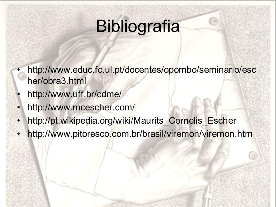 Bibliografia http://www.educ.fc.ul.pt/docentes/opombo/seminario/esc her/obra3.html http://www.uff.br/cdme/ http://www.mcescher.com/ http://pt.wikipedi
