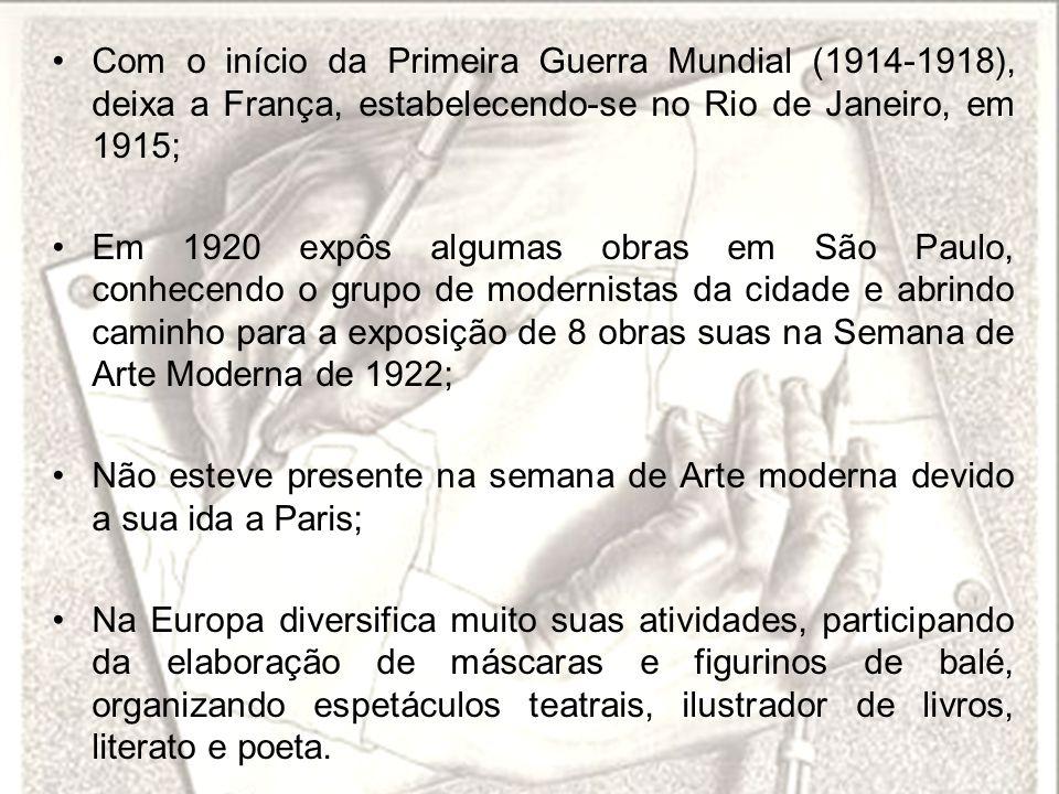 Com o início da Primeira Guerra Mundial (1914-1918), deixa a França, estabelecendo-se no Rio de Janeiro, em 1915; Em 1920 expôs algumas obras em São P