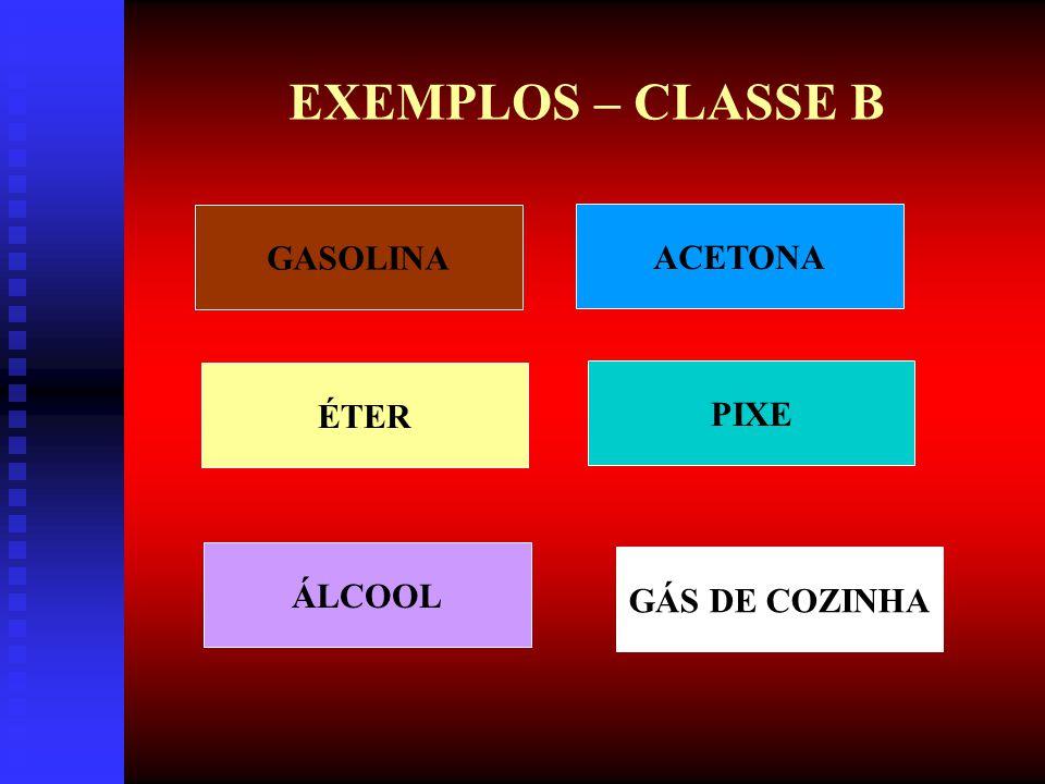 INCÊNDIO CLASSE B - CARACTERÍSTICAS: 1ª - QUEIMA SOMENTE NA SUPERFÍCIE E NÃO QUEIMA EM PROFUNDIDADE.