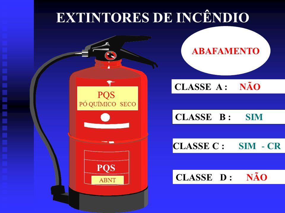 EXTINTORES DE INCÊNDIO CO2 – 06 Kg CLASSE A : NÃO CLASSE B : SIM CLASSE C : SIM CLASSE D : NÃO ABAFAMENTO E RESFRIAMENTO