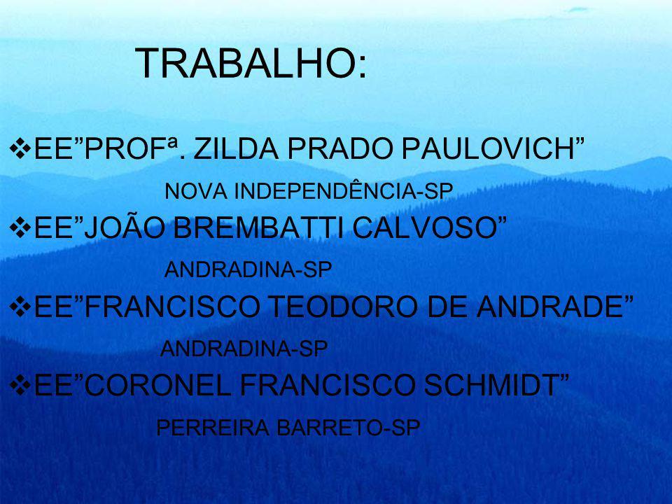 TRABALHO: EEPROFª. ZILDA PRADO PAULOVICH NOVA INDEPENDÊNCIA-SP EEJOÃO BREMBATTI CALVOSO ANDRADINA-SP EEFRANCISCO TEODORO DE ANDRADE ANDRADINA-SP EECOR